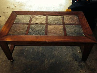 Wood and Stone Tile Coffee Table