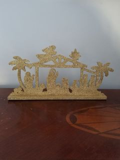 Gold glitter nativity table decoration