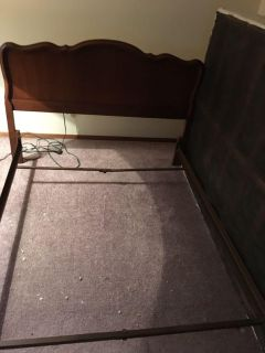 Bed frame with solid wood head and foot board