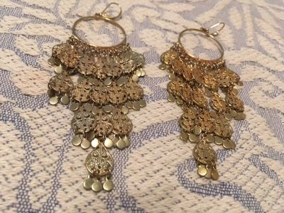 Belly Dancer Earrings Vintage Gold Color Long Lightweight Beautiful French Hooks