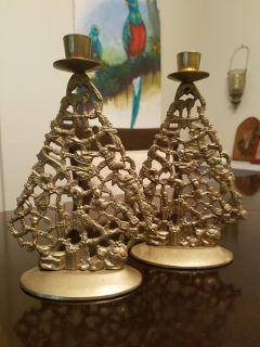 Vintage Brass Christmas Tree Candle Holders
