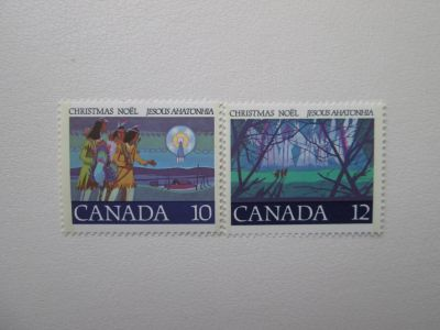741 742 Canadian Mint Christmas Postage Stamps Christmas Noel
