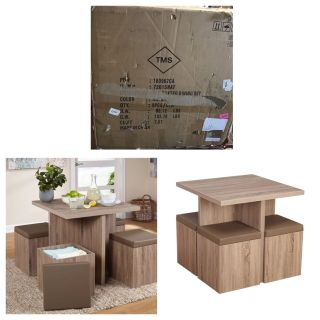 5-Piece Baxter Dining Set with Storage Ottoman, Natural