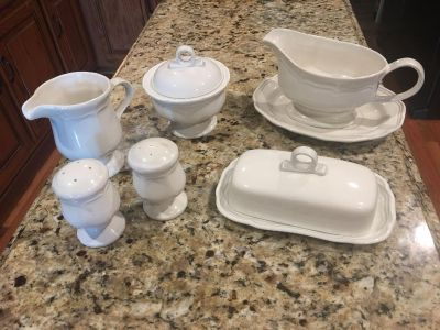 MAKASA - FRENCH COUNTRY - Sugar Bowl- Creamer-Butter Dish-Salt & Pepper Shaker and Gravy Bowl .... wedding gift and never used ....