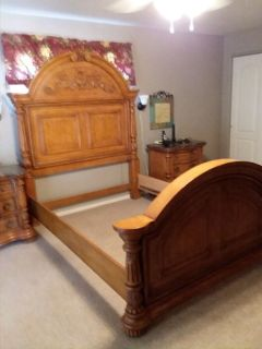Bed - Solid Oak carved Queen bed