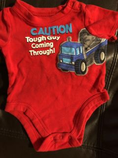 Caution Tough Guy Coming Through Red Onesie Playsuit. Size 3-6 Months