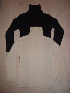 2 turtle neck sweaters, beige and black, medium