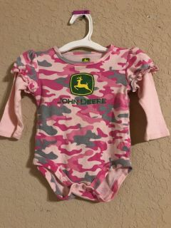 John Deere Pink Camouflage Long Ruffle Sleeve. Nice Condition. Size 9-12 Months
