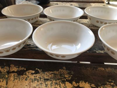 6 Vintage Corelle butterfly cereal bowls