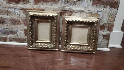 Pair of Chunky Wood Gold Hanging Frames.