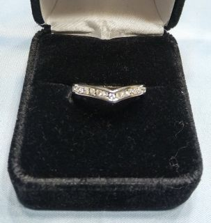 Woman's 1/8 Carat Diamonds Encrusted Wedding Ring Accent Band in 14k White Gold Size 7.5