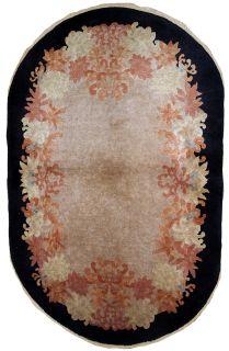 Handmade antique oval Art Deco Chinese rug, 1B616