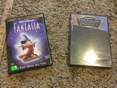 2 Disney full length dvds, Fantasia and Treasure Planet $5.00 for the pair.
