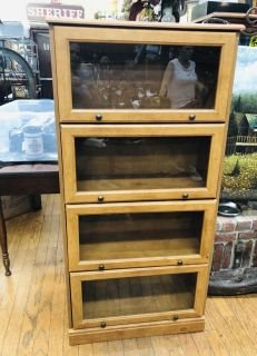 Lawyer Style Bookcase With Sliding Glass Doors