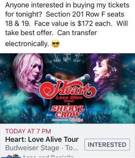 HEART CONCERT TORONTO $250 OBO for Pair of tickets
