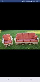 2 Piece Outdoor Wicker Set Couch & Chair With Cushions