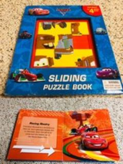 Cars sliding puzzle story book with 4 puzzles