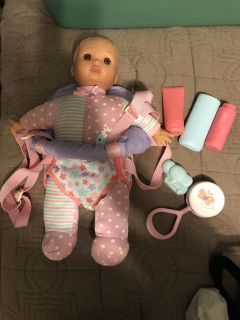 Baby doll with carrier and accessories