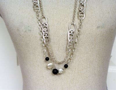 """NWOT Silver Tone 32"""" Black Bead Double Strand Necklace Statement Chain"""