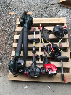 Single Lot - 5 Total Pieces - 3 Troybilt Weed Eater Trim Power heads and 2 Bowen Leaf Blowers