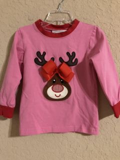 SMOCKED AUCTIONS Hot Pink Christmas Pj s Shirt. Cute Enough To Wear As A Regular Shirt. Very Nice Condition. Size 2T