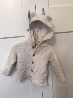 Quilted sweater with lined bear hood 18 months