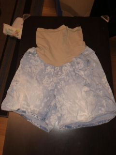 Indigo Blue! Maternity Shorts! Blue Jeans Faded White Washed Floral Pattern! Size Small! EUC!