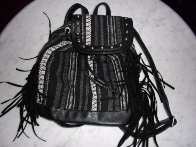 Women ladies small black Indian BACKPACK PURSE w/ zipper & draw string