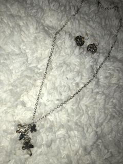 Matching Cross Earring and Necklace Set Gold and Silver