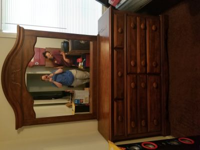 Real wood brown dresser with mirror