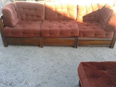 1970s red sofa and chair set