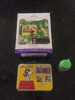 Hallmark Tin Peanuts Lunch Box and Thermos Ornament Set - 2000