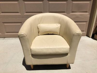 MidCentury Style Cream Leather Club Chair