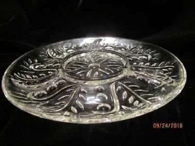 Vintage Cut Glass Divided Platter