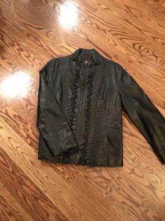 Brown faux leather jacket.