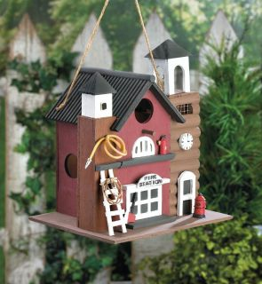 Brand New! Whimsical Fire Station Birdhouse