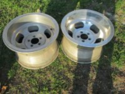 16X10 ALUMINUM SLOT WHEELS, OLD RARE GASSER WHEELS