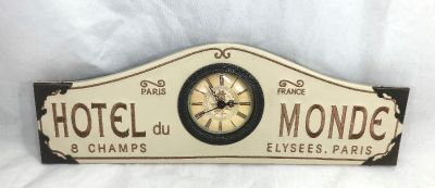Hotel Du Monde Paris France Wall Clock Plaque 1919 Faux Leather Embroidered Lettering Brown 15 1/2""