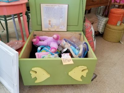 Green Painted Fish Themed Wood Storage Box