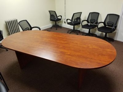 Large conference desk with chairs solid wood
