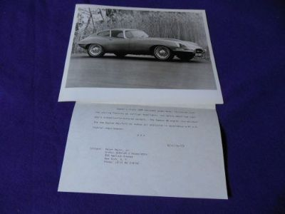 Purchase Original 1968 Jaguar XKE Coupe Series 1.5 Factory Press Photo with Release #1 motorcycle in North Haven, Connecticut, United States