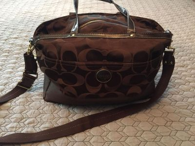 Brown Coach Diaper Bag with removable change pad