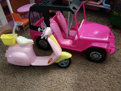 Barbie scooter and jeep