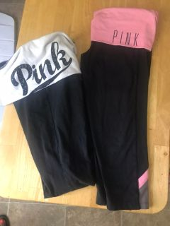 Pink lot yoga pans and short leggings all excellent condition