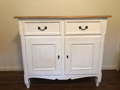 White buffet or dresser with natural top