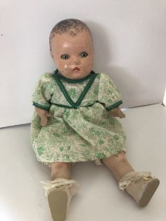 Antique Horsman Composition Doll with Blue/Green Sleep Eyes