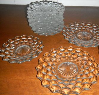 12 Fostoria Early American Clear Glass Sawtooth Plates Salad & Bread & Butter
