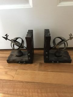 Directional Bookends Metal and Wood