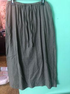 Army green long skirt