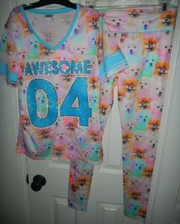 AWESOME Boo Puppy Dog Girls Justice Jersey Top & Leggings 18 / 20